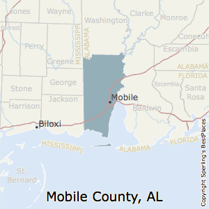 Mobile,Alabama County Map