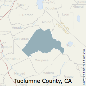 Tuolumne,California County Map