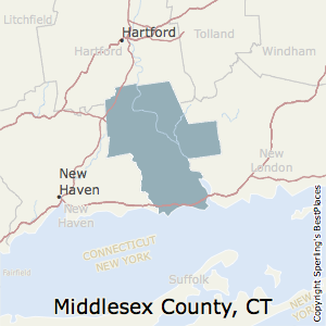 Middlesex,Connecticut County Map