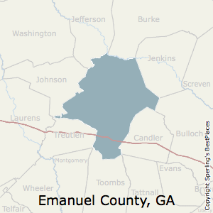 Emanuel,Georgia County Map