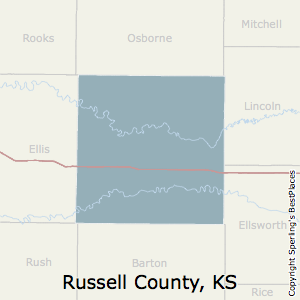 Russell,Kansas County Map