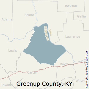 Greenup,Kentucky County Map