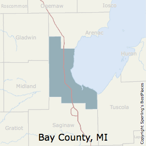 Bay,Michigan County Map