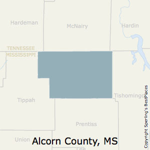 Alcorn,Mississippi County Map