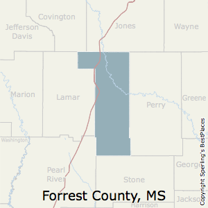 Forrest,Mississippi County Map