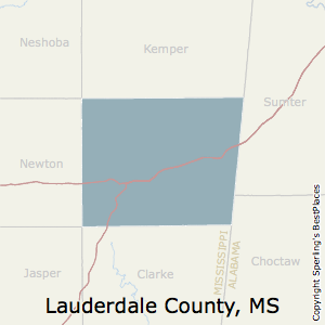 Lauderdale,Mississippi County Map