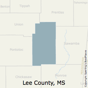 Lee,Mississippi County Map