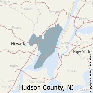 Hudson,New Jersey County Map