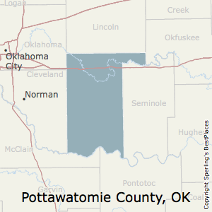 Pottawatomie,Oklahoma County Map