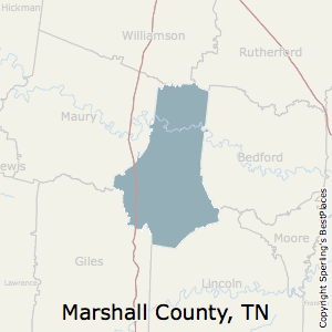 Marshall,Tennessee County Map