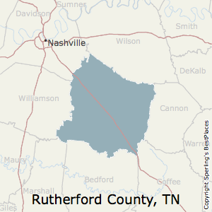 Rutherford,Tennessee County Map