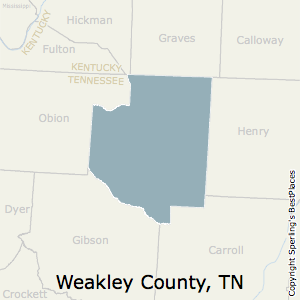 Weakley,Tennessee County Map