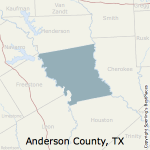 Anderson,Texas County Map