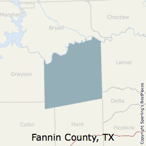 Fannin,Texas County Map