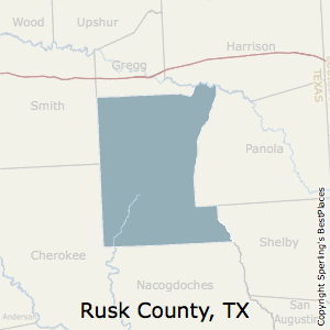 Rusk,Texas County Map
