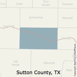 Sutton,Texas County Map