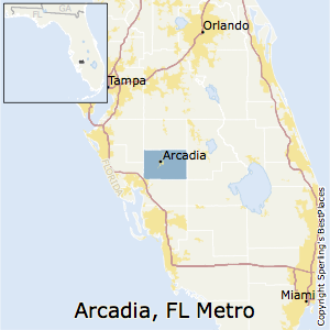 Arcadia,Florida Metro Area Map