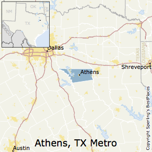 Athens,Texas Metro Area Map