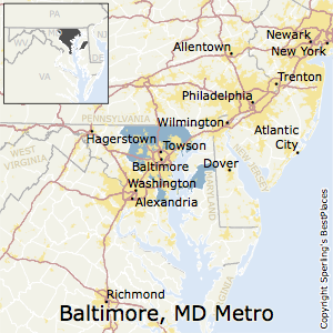 Baltimore-Columbia-Towson,Maryland Metro Area Map