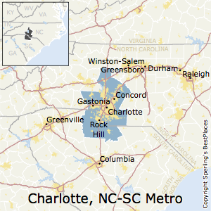 Charlotte-Concord-Gastonia,North Carolina Metro Area Map