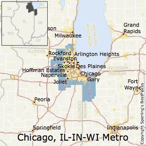 Chicago-Naperville-Elgin,Illinois Metro Area Map