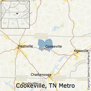 Cookeville,Tennessee Metro Area Map