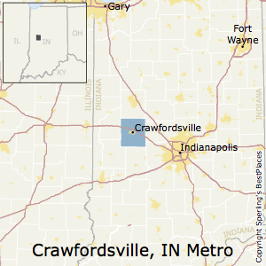 Crawfordsville,Indiana Metro Area Map
