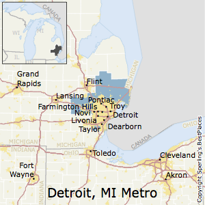 Detroit-Warren-Dearborn,Michigan Metro Area Map