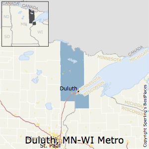 Duluth,Minnesota Metro Area Map