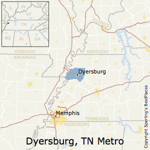 Dyersburg,Tennessee Metro Area Map