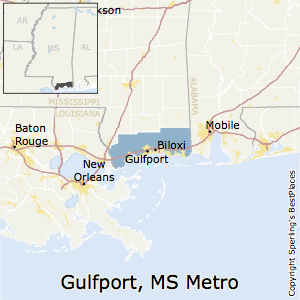 Gulfport-Biloxi-Pascagoula,Mississippi Metro Area Map
