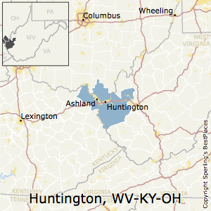 Huntington-Ashland,West Virginia Metro Area Map