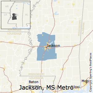 Jackson,Mississippi Metro Area Map