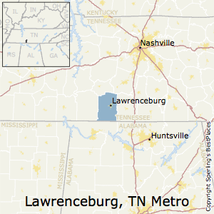 Lawrenceburg,Tennessee Metro Area Map
