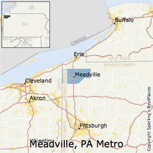 Meadville,Pennsylvania Metro Area Map