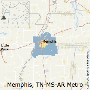 Memphis,Tennessee Metro Area Map