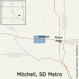 Mitchell,South Dakota Metro Area Map