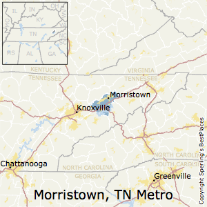 Morristown,Tennessee Metro Area Map