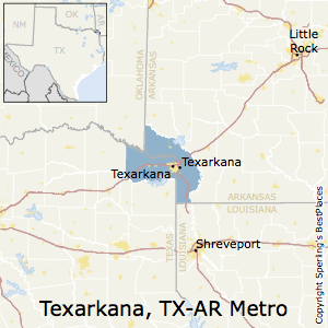 Texarkana,Texas Metro Area Map