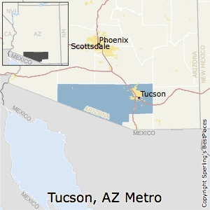 Tucson,Arizona Metro Area Map