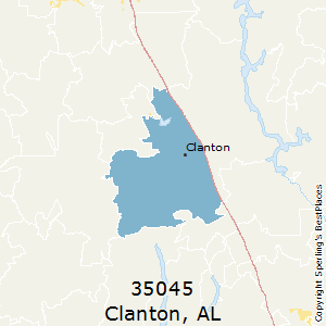 Clanton,Alabama County Map