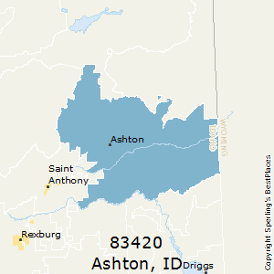 Ashton,Idaho County Map