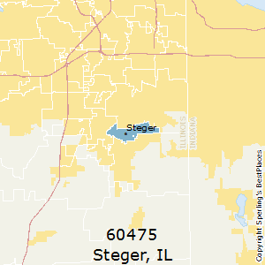 Steger,Illinois County Map