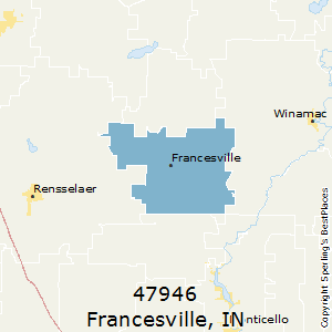 Francesville,Indiana County Map