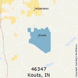 Kouts,Indiana County Map