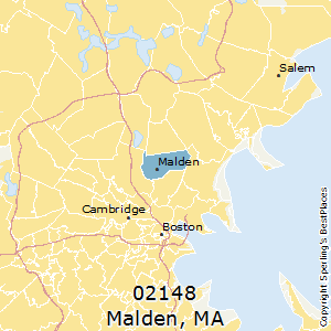 Malden,Massachusetts(02148) Zip Code Map