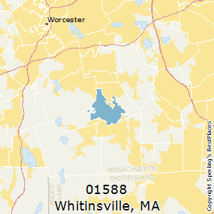 Whitinsville,Massachusetts County Map