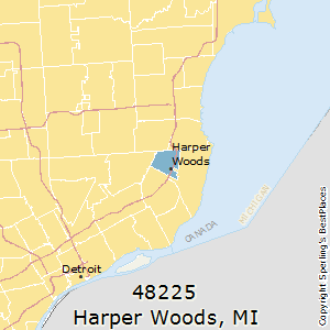 Harper_Woods,Michigan(48225) Zip Code Map