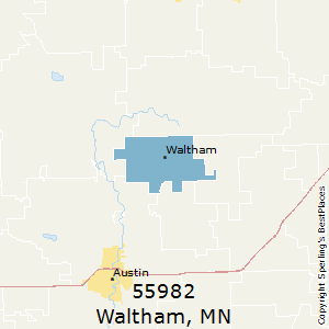 Waltham,Minnesota(55982) Zip Code Map