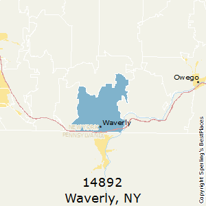 Waverly,New York County Map